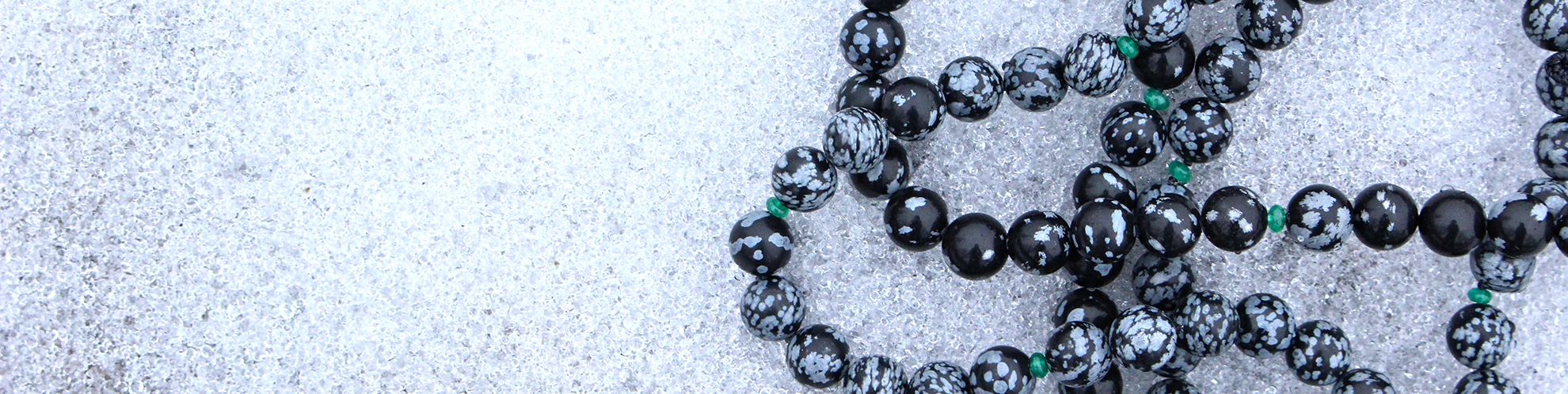 Snowflake Obsidian & Emerald Necklace